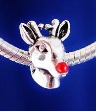 Rudolph Red Nosed Reindeer Christmas Santa Sleigh Silver European Charm Bead