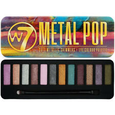 W7 Metal Pop Sombra de Ojos Paleta-estaño trémulo Pop Colores Brillantes Combinable Cepillo