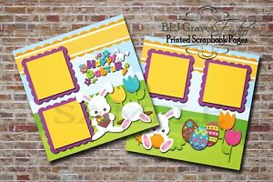Easter Bunny 2 PRINTED Premade Scrapbook Pages Boy Girl Baby BLJgraves 1
