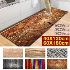 Kitchen Floor Carpet Area Rug Wood Non-slip Grain Printed Door Pad Mat 16''x47''