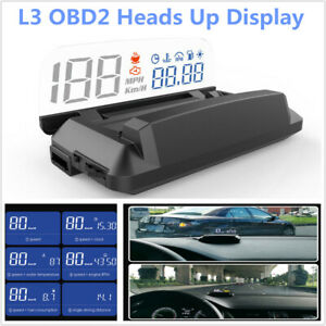L3 Universal Car HUD OBD2 Heads Up Display Speed Fuel RPM with reflection board