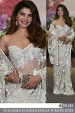 White Net Silk sari Embroidered Festive Designer Lehenga Choli Lengha Party Wear