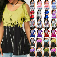 Plus Size Womens Summer Blouse T Shirt Short Sleeve Casual Loose Beach Tunic Top