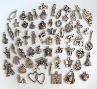 60 Breloques _ LOT MIX DIVERS arg. de 11 à 29 mm _ Perles charms création bijoux