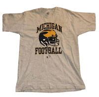 Vintage 90s Mens Size L Michigan Wolverines Football Short Sleeve T Shirt Gray