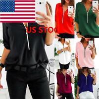US Womens  Zipper V-Neck Top Blouse T-Shirt Tee Casual Long Sleeve Size S-5XL