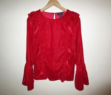 AMARYLLIS VELVET BLOUSE Size Small Red Ruffles Long Sleeve Top Contemporary NWT