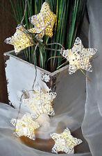 ❀ 2 x Sternenkette a`10 Sterne LED Draht Papier Weiß Lichterkette Stern #196