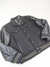 $450 Levi's Thermore Trucker Varsity Jacket WOOL LEATHER SLEEVES Black Sz XXL