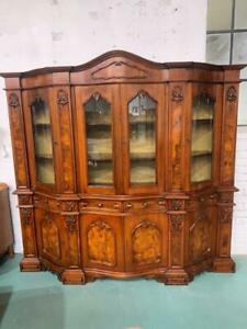 H41031 French Style Walnut Carved Timber Display Cabinet China Cupboard