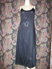 Vintage Vanity Fair Black Simple Sheath Silky Nylon Slip Lingerie 36