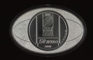2007 FRANCE RUGBY COLLECTION  50 EUROS SILVER  KILO COIN - RARE!