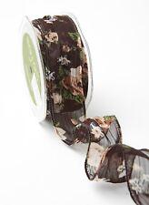 1.5 Inch Sheer Spring Floral Print ribbon BLACK FLORAL PRINT price per yard