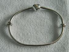 Clogau Silver & Welsh Gold Cariad Heart Bead Charm Bracelet 19cm RRP £139.00