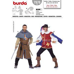 Burda 7976 SEWING PATTERN Renaissance Medieval Musketeer Movie Men Costume 38-50