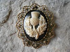 +2 IN 1- SCOTTISH THISTLE CAMEO (HAND PAINTED) -SCOTLAND -BROOCH / PIN / PENDANT