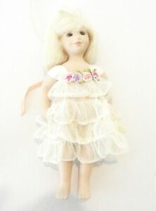 OOAK ARTIST ORIGINAL JACKIE MAPHIS 8 in FULL BODY PORCELAIN MOHAIR WIG DOLLY NEW