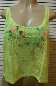 Victoria's Secret PINK All-Over Lace Crop Tank Top Neon Yellow Size Large*