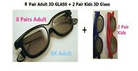 8 Pairs Adult + 2 Pairs Kids Passive 3D Glasses glass for Vizio LG Hisense Haier