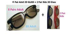 8 Pairs Adult + 2 Pairs Kids Passive 3D Glasses glass for Vizio LG Hisense Haier