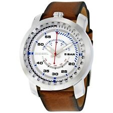 DIESEL DZ1749 RIG MEN'S BROWN LEATHER STRAP WATCH --- 2 YRS WARRANTY