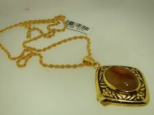 "BEAUTIFUL LARGE GENUINE SCARAB LOCKET NECKLACE! NEW WITH TAGS ""T.S."""