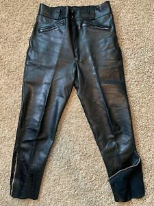 Vintage Harley Davidson Motorcycle Leather Riding Pants Size 36 Men's