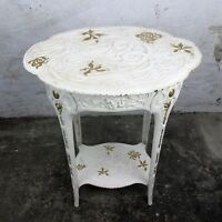 Jugendstil Iron Side Wine Garden Table White Gold touches Antique Two Tier WOW