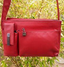 Perlina red leather small vintage shoulder bag purse