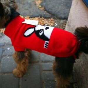 Pet Clothes Dog Sweater Medium Size Warm Pullover Printed Red White Black NWT