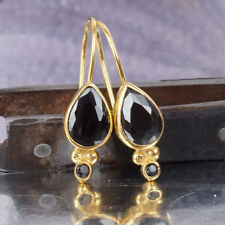 Omer 925 Sterling silver Handmade Fine Granulated Onyx Earrings 24k Gold Vermeil