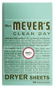 SC Johnson Mrs. Meyer's Clean Day, 80 Count, Basil Dryer Sheets