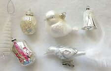 6 MERCURY GLASS CHRISTMAS ORNAMENTS= MATTE WHITE & SILVER=BIRDS,BELL,WALNUT,MORE