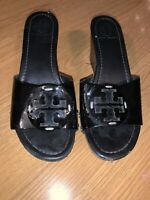 TORY BURCH BLACK WEDGED HEEL SANDALS  WOMEN'S SIZE 8.5 M