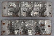 ANCIEN MOULE CHOCOLAT FORME 3 COQS N° 6580/9 XIXe