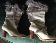 French Connection Leather boots - Size 4 with Faux Fur