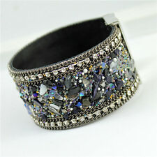Bangle Bracelet Womens Jewelry, Magnetic clasp Leather Crystal Rhinestone Stones