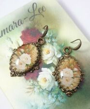 Artisan white roses bronze plated glass cabochon victorian style drop earrings