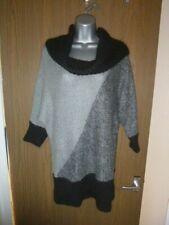 wallis chunky knit grey/black jumper size m/medium with angora