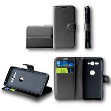 para HTC Desire 12 Plus Cartera De Bolsillo Negro PREMIUM Estuche Cubierta NUEVO