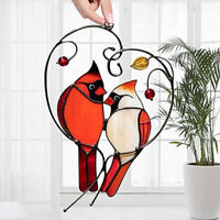 Multicolor Birds on a Wire High-Stained Glass Suncatcher Window Panel Home Decor