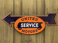VINTAGE UNITED MOTORS SERVICE EMBOSSED METAL PORCELAIN SIGN AUTO GAS SERVICE OIL
