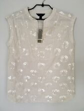 JCREW Collection Blouse Sleeveless Cream Top Sequins NEW Small UK 6/8, US 2