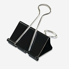 "Universal Large Metal Binder Clips 36 ct Steel Wire 2"" Wide 1"" Cap. Black Silver"