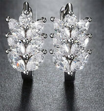 CZ CUBIC ZIRCONIA STUD MARQUISE FLOWER EARRINGS WEDDING CRYSTAL FASHION JEWELRY