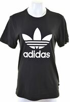 ADIDAS Womens Graphic T-Shirt Top UK 8 Small Black Cotton  LQ05