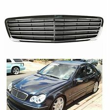 Chrome + Gloss Black Front Grille Grill For Mercedes Benz W203 C-Class C230 C320