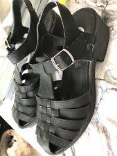 River Island Black Strappy Block Heel Shoes Size Uk 8 Eu 41