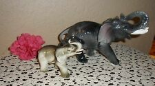 2 Beautiful Chic Vintage Elephant Figurine Statue With Trunks Up For Good Luck