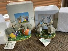 2 Charming Tails Silvestri Dean Griff Figurines w/Boxes Love Blooms & Bunny Love